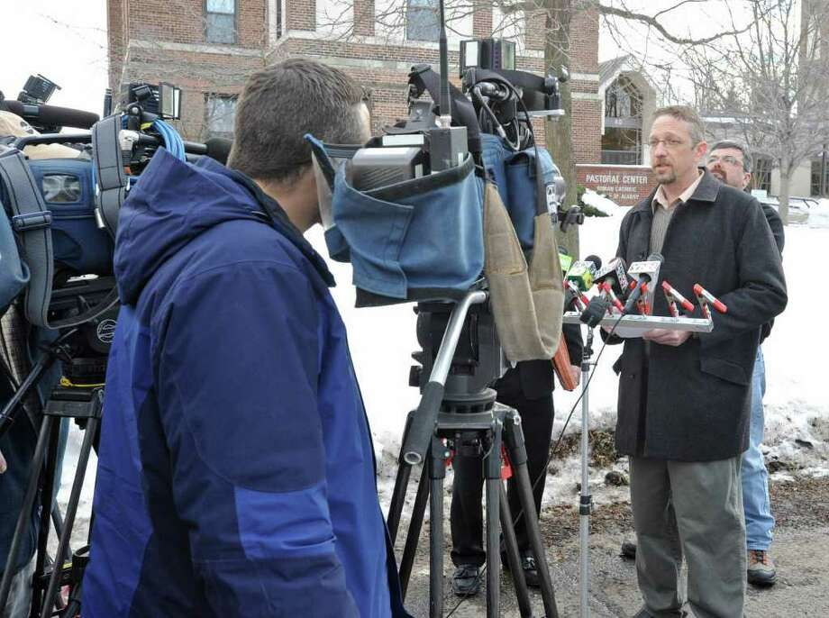 Mike Flynn, who says that he is a victim of Gary Mercure, speaks about the Mercure verdict and the Albany Diocese in front of The Chancery on North Main St. in Albany, NY on February 14, 2011.  (Lori Van Buren / Times Union archive) Photo: Lori Van Buren