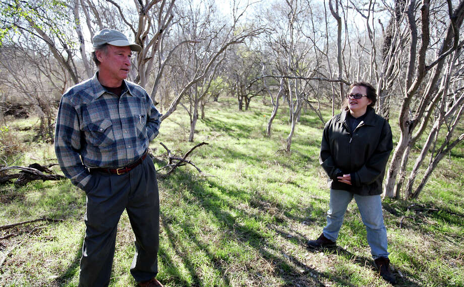 Philip Ross (left) represents the owner of the land containing hundreds of Texas persimmons. The owner has sued SAWS over the trees' value. Photo: EDWARD A. ORNELAS/eaornelas@express-news.net