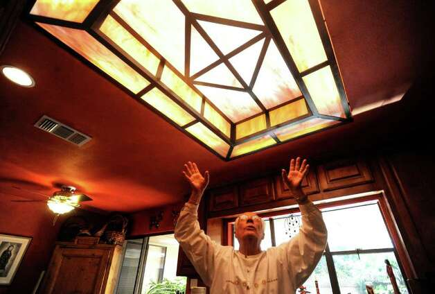 Ted Hanes built this skylight after his wife, Anne, sketched it. The Hanes family often entertains in their Windcrest home. Tuesday, Feb. 8, 2011.  COOKS AND COCINAS  Lehmann story Photo: BILLY CALZADA, SAN ANTONIO EXPRESS-NEWS / gcalzada@express-news.net