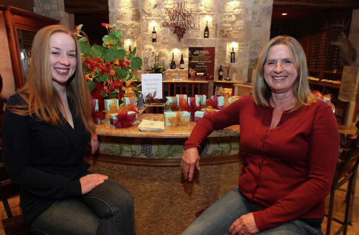 Alison Turner (left) and Peggy Cloar (right) run the High Street Chocolate Co. in Comfort, and sell their chocolate online and at shops such as the Boerne Wine Company.