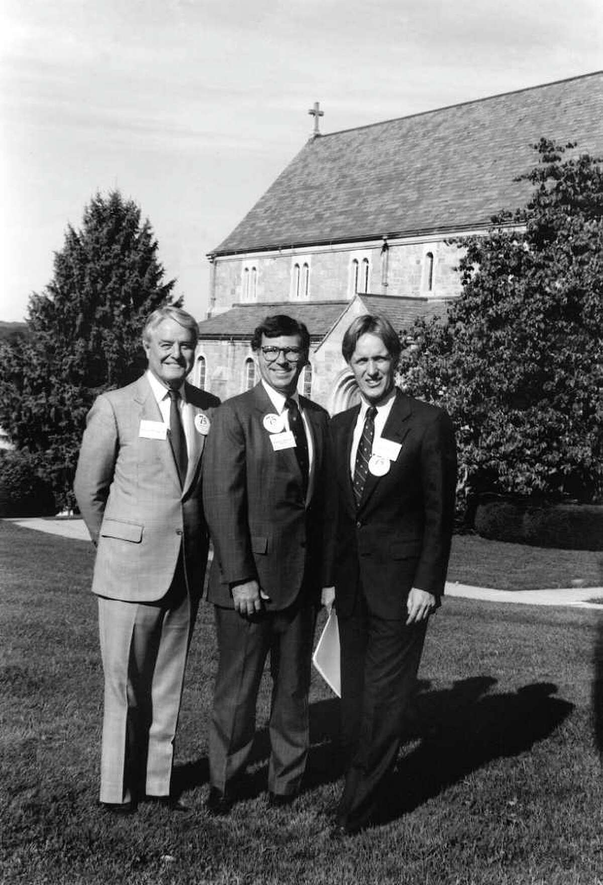At Canterbury's 75th Anniversary celebration (October 6, 1990) - L-r: R. Sargent Shriver '34 (master of ceremony), Headmaster Tom Sheehy, Tom Gerety '64 (then president of Trinity College in Hartford, CT and keynote speaker).