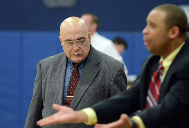 St. Joseph's boys basketball coach Vito Montelli during the boys basketball game against Staples at Staples on Monday, Feb. 14, 2011. Photo: Amy Mortensen / Connecticut Post Freelance