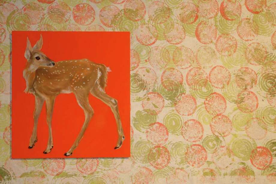 "This work by Norwalk artist Megan Collins is part of her ""Deer Crossings"" exhibit during March at ArtPlace gallery in Fairfield. Photo: Contributed Photo / Fairfield Citizen contributed"