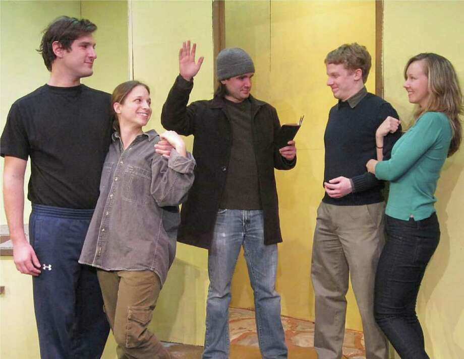 """A happy dénouement concludes the Town Players of New Canaan's production of the Billy VanZandt-Jane Milmore comedy """"Love, Sex and the I.R.S."""" Pictured here from left are Townsend Ambrecht, Marta Coppola, Mike Hodges, Ryan Hendrickson and Rochelle Woodson.  Performances of the fast paced, laugh filled farce take place at the Powerhouse Theatre in Waveny Park, New Canaan from Feb. 25 to March 12. Tickets are $20 for adults and $15 for students and seniors. To reserve seats, call 203-966-7371 or visit info@tpnc.org. Photo: Contributed Photo / New Canaan News"""