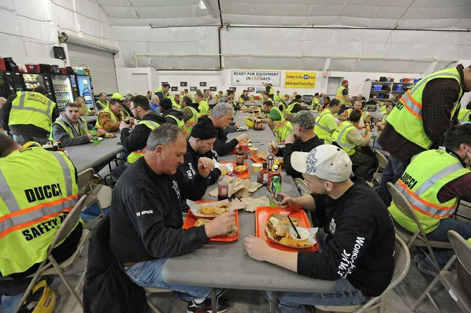 Inside The Foundry, at Globalfoundries in Malta, NY, during lunch time on February 15, 2011.  Angelo Mazzone Catering is celebrating the one-year anniversary of The Foundry, the on-site dining dome at Globalfoundries. It feeds 1,000 meals a day. (Lori Van Buren / Times Union) Photo: Lori Van Buren