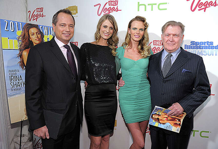 NEW YORK, NY - FEBRUARY 15: (L-R) President of Sports Illustrated Group Mark Ford, model Julie Henderson, model Anne V and editor of Sports Illustrated Group Terry McDonnell attend the SI Swimsuit Launch Party hosted By Pranna at Pranna Restaurant on February 15, 2011 in New York City. (Photo by Michael Loccisano/Getty Images for Sports Illustrated) *** Local Caption *** Mark Ford;Terry McDonnell;Anne V;Julie Henderson