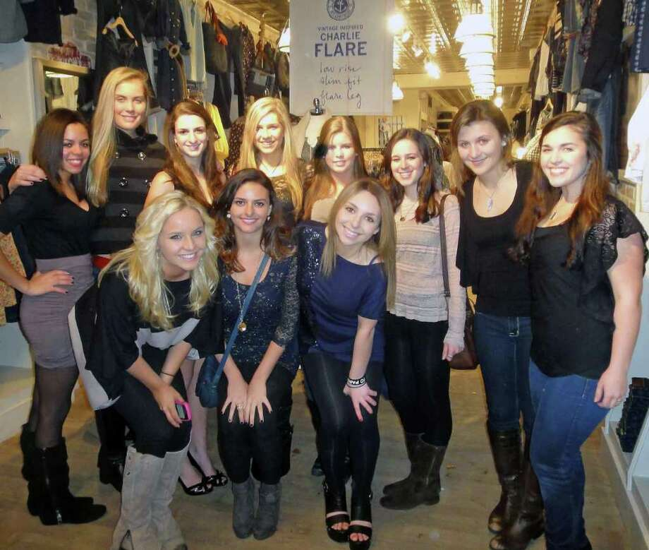 Westport teen Devon Skolnick took 10 friends on a shopping spree at Luck Brand Jeans earlier this month after entering and winning an online sweepstakes at Teen Vogue. Hitting the store were, from left Jessie Currier, Joosje Grovers, Rachel Weinstein, Skolnick, Ashley Soule, Kelsey Landover, Kaite Coe, Kelly Ebel, Summer Anderson, Olivia Vaughn-Flam, and Sami Jurofsky. Photo: Contributed Photo / Westport News