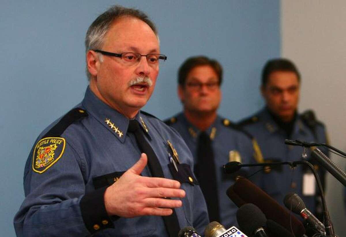 Seattle Police Chief John Diaz during a press conference on February 16, 2011. (Joshua Trujillo, Seattlepi.com)