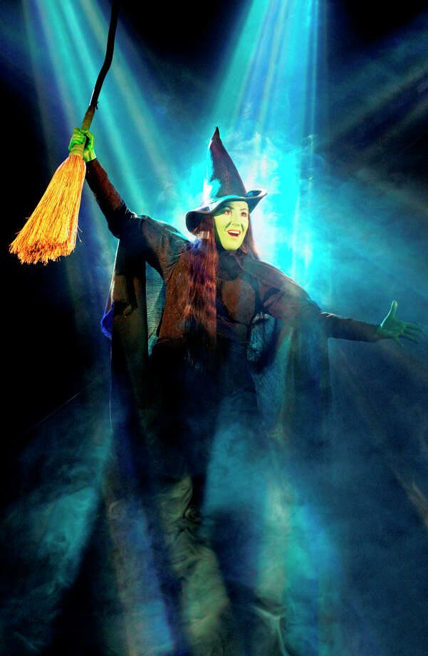 "Anne Brummel defies gravity as Elphaba in ""Wicked,"" which is showing at the Majestic Theatre. COURTESY JOAN MARCUS"