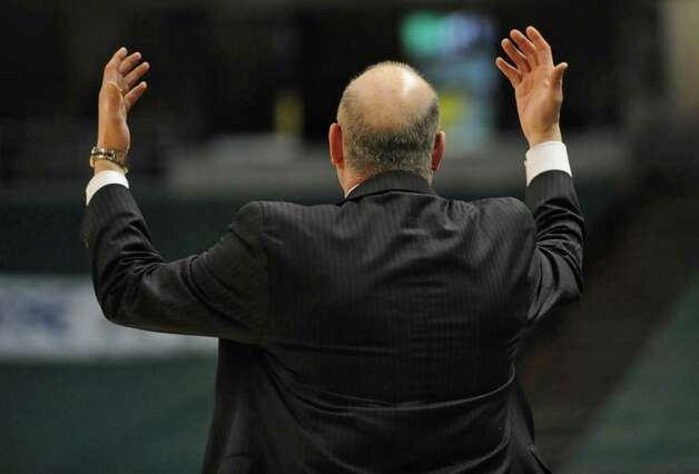 You don't have to see Siena's head coach Mitch Buonaguro's face to feel his disappointment with the officials during a basketball game at the Times Union Center in Albany, NY on Wednesday, February 16, 2011.  (Lori Van Buren / Times Union) Photo: Lori Van Buren