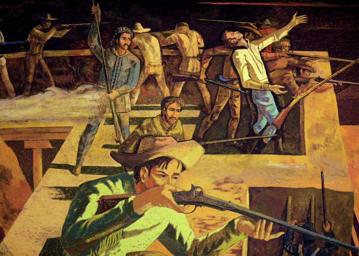 """This is a detail of the """"The Death of Travis"""" mural, painted by Millard Sheets."""