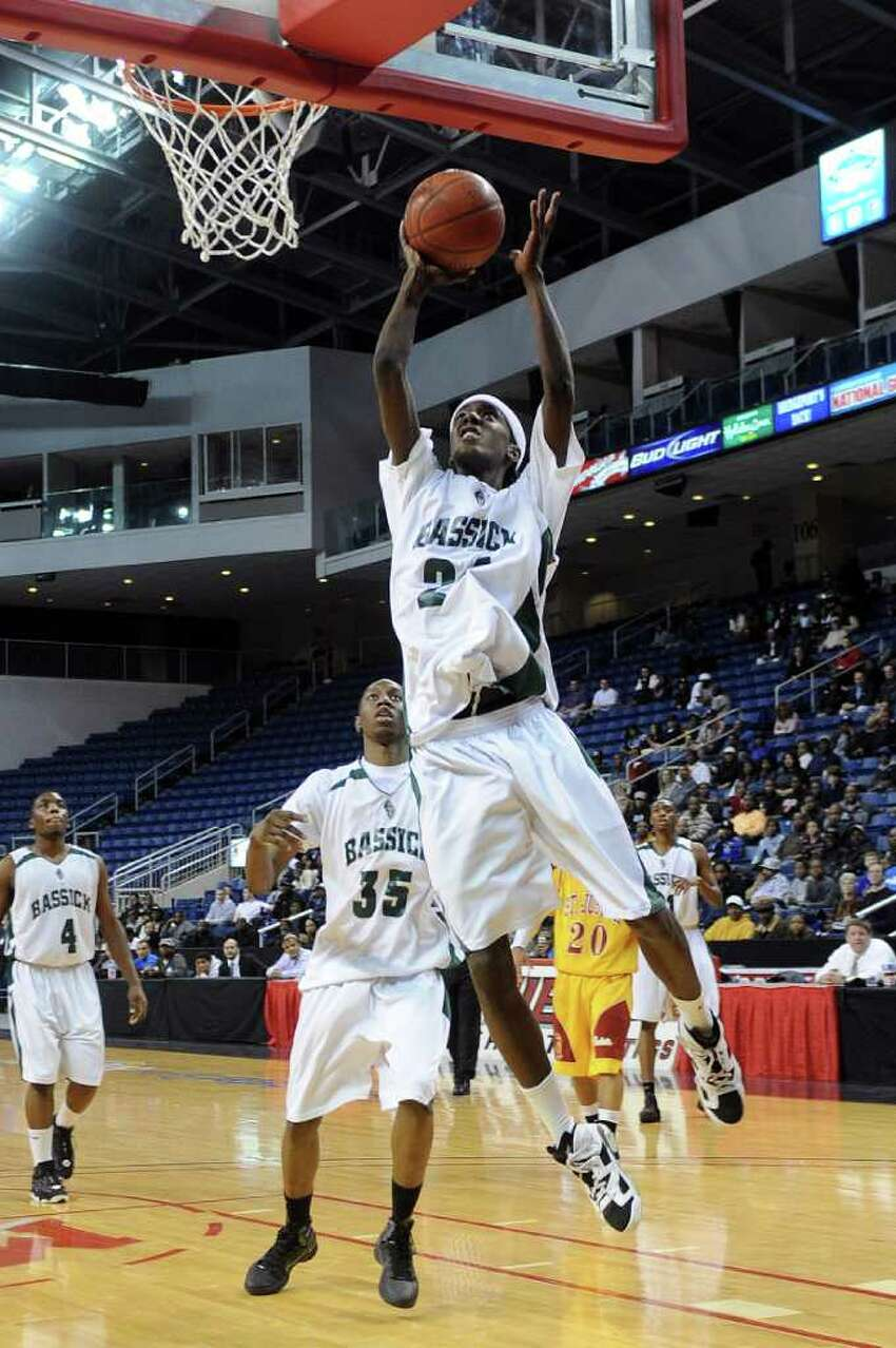 Marlo Macklin puts up a shot for Bassick during Thursday's game at Webster Bank Arena at Harbor Yard on February 17, 2011.