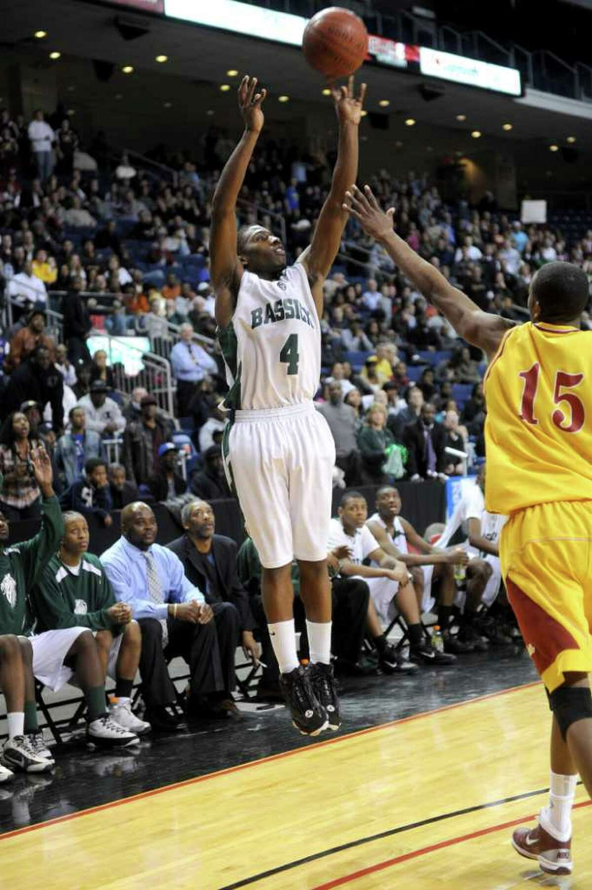 St. Joseph plays against Bassick High School during Thursday's game at Webster Bank Arena at Harbor Yard on February 17, 2011.
