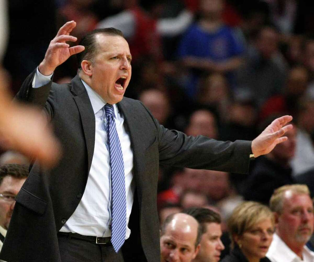 Chicago Bulls head coach Tom Thibodeau yells to his team during the second half of an NBA basketball game against the San Antonio Spurs, Thursday, Feb. 17, 2011, in Chicago. The Bulls won 109-99.