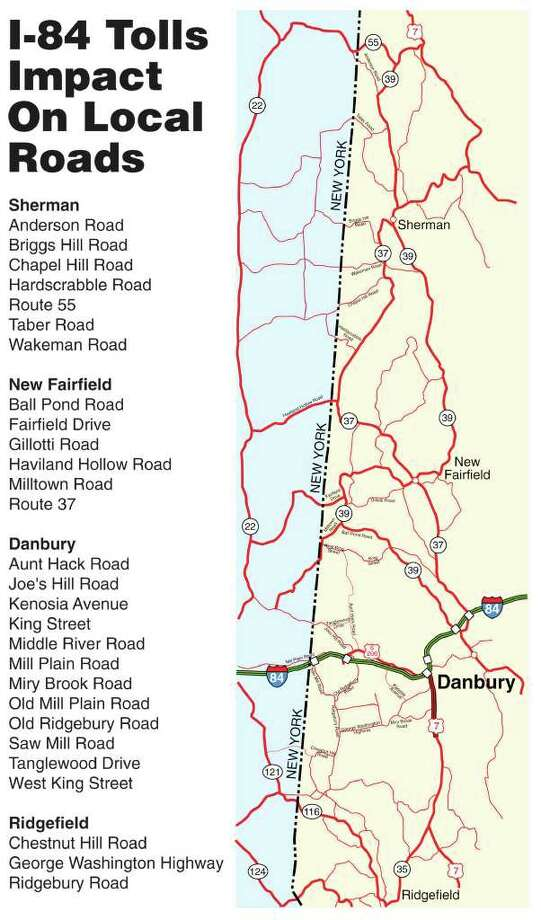 A map that shows the impact that tolls on I-84 would have on local roads. Photo: Contributed Photo / The News-Times Contributed