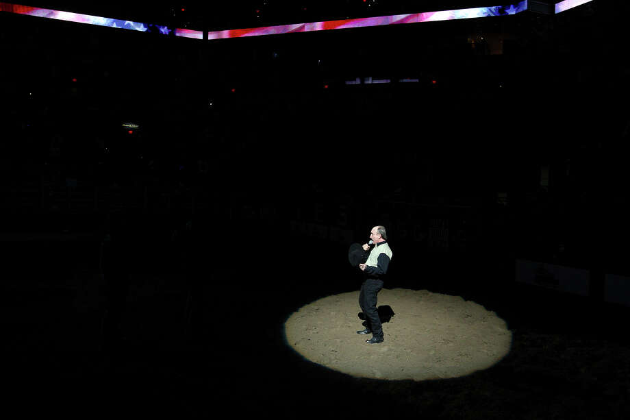 Mark Jones sings the National Anthem Friday Feb. 18, 2011 during the San Antonio Stock Show & Rodeo at the AT&T Center. Photo: EDWARD A. ORNELAS/eaornelas@express-news.net