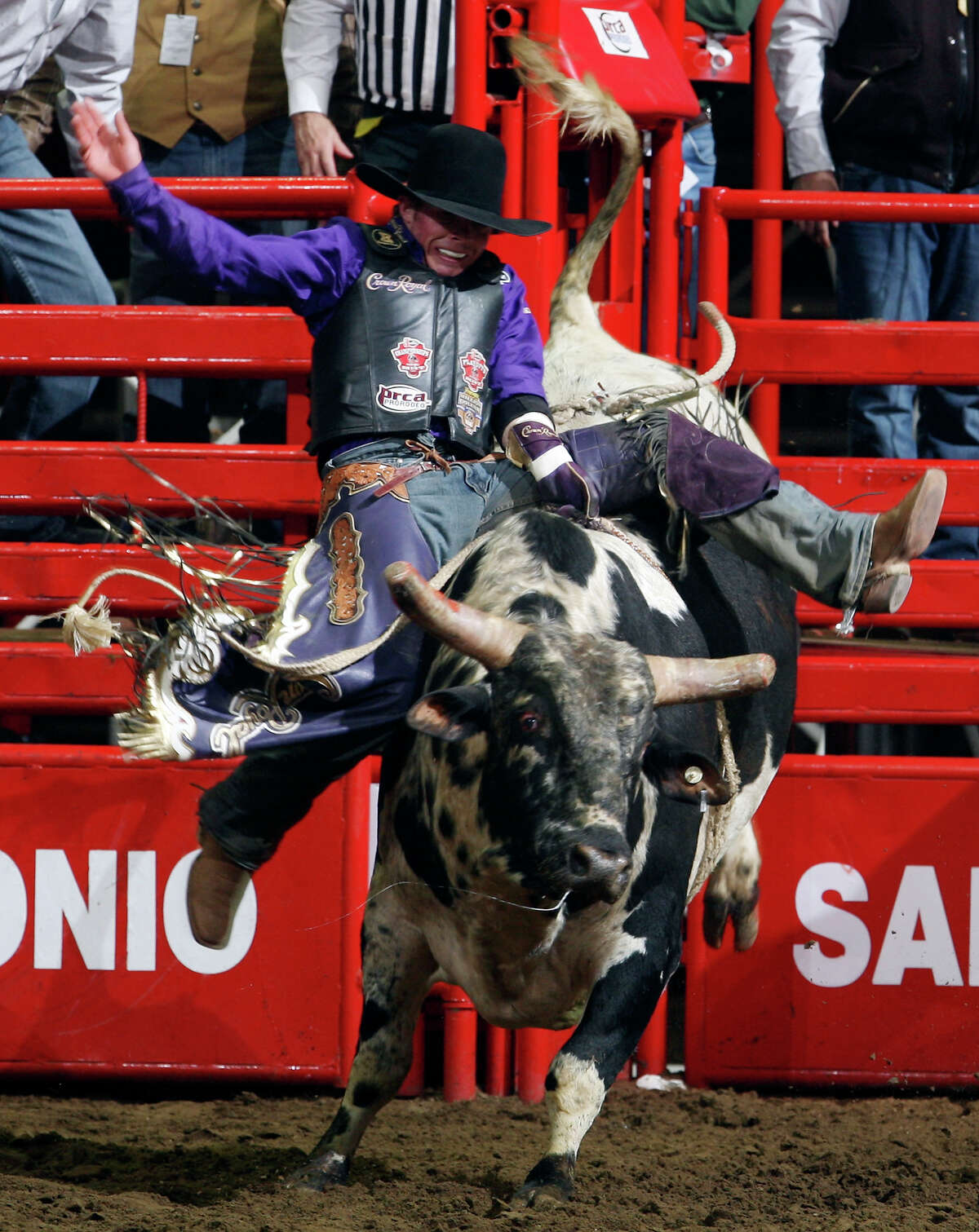 Steve Woolsey, from Payson, UT, competes in the Bull Riding event Friday Feb. 18, 2011 during the San Antonio Stock Show & Rodeo at the AT&T Center. Woolsey scored an 88 on the ride.