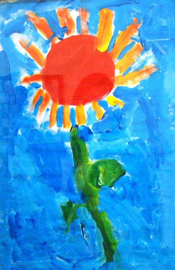 Sunflower drawn by Michael Malatino, Class of ?24, on display at the new gallery at Albany Academies. (Courtesy Albany Academies)