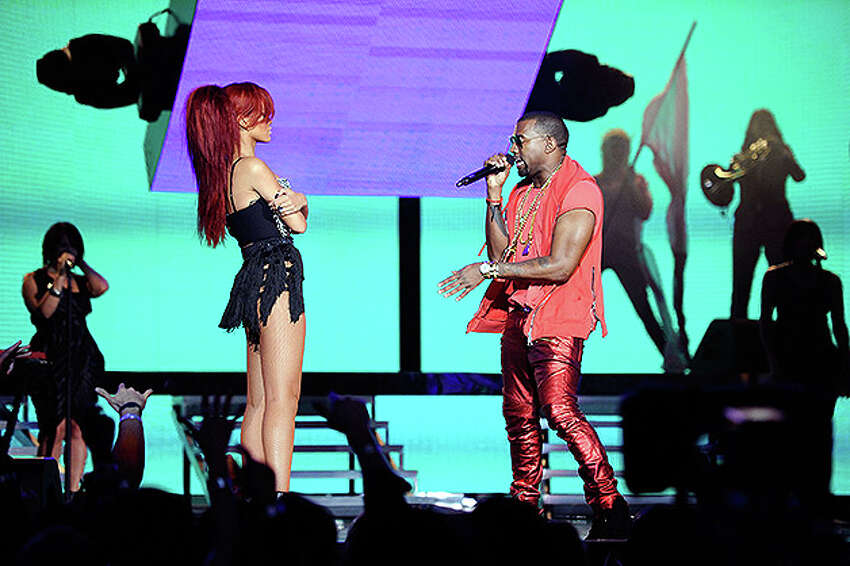 LOS ANGELES, CA - FEBRUARY 20: Singer Rihanna (L) and rapper Kanye West perform during the 2011 NBA All-Star game halftime show at Staples Center on February 20, 2011 in Los Angeles, California. NOTE TO USER: User expressly acknowledges and agrees that, by downloading and or using this photograph, User is consenting to the terms and conditions of the Getty Images License Agreement. (Photo by Kevork Djansezian/Getty Images) *** Local Caption *** Rihanna;Kanye West