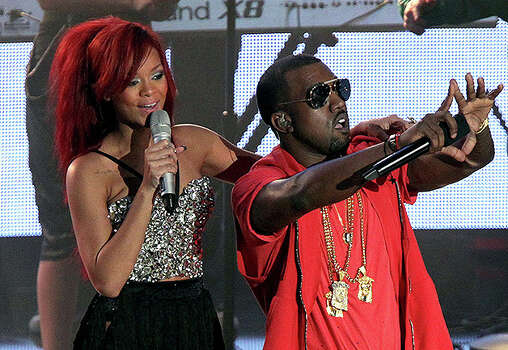 LOS ANGELES, CA - FEBRUARY 20:  Singer Rihanna (L) and rapper Kanye West perform during the 2011 NBA All-Star game halftime show at Staples Center on February 20, 2011 in Los Angeles, California. NOTE TO USER: User expressly acknowledges and agrees that, by downloading and or using this photograph, User is consenting to the terms and conditions of the Getty Images License Agreement.  (Photo by Noel Vasquez/Getty Images) *** Local Caption *** Rihanna;Kanye West Photo: Noel Vasquez, Getty Images / 2011 Getty Images