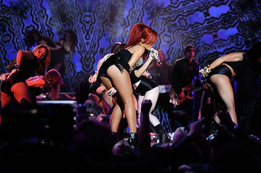 LOS ANGELES, CA - FEBRUARY 20:  Singer Rihanna performs during the 2011 NBA All-Star game halftime show at Staples Center on February 20, 2011 in Los Angeles, California. NOTE TO USER: User expressly acknowledges and agrees that, by downloading and or using this photograph, User is consenting to the terms and conditions of the Getty Images License Agreement.  (Photo by Kevork Djansezian/Getty Images) *** Local Caption *** Rihanna Photo: Kevork Djansezian, Getty Images / 2011 Getty Images