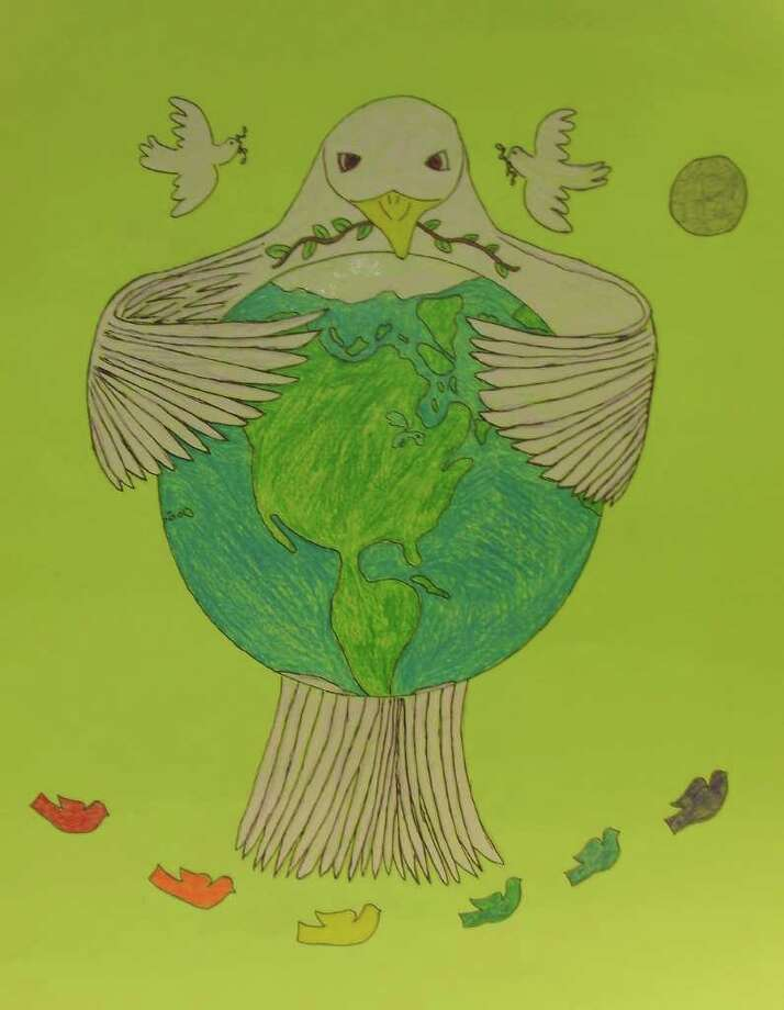 The Lions Club of Westport recently awarded Bedford Middle School student Casey Floyd a $100 savings bond for his entry in the Lions Club's Peace Posters contest. Floyd's entry will be sent to the state finals to compete against other winning posters in the state. Photo: Contributed Photo / Westport News