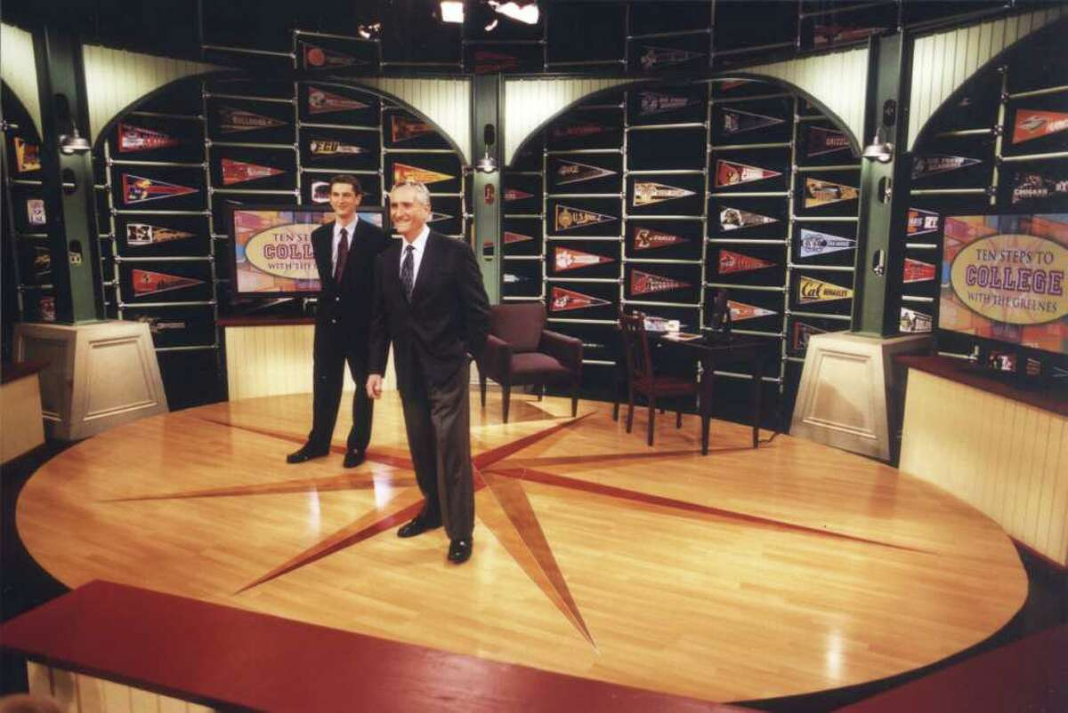Howard Greene (on right) and Matthew Greene during the filming of Ten Steps to College with the Greenes in November 2002 at WTIU, Bloomington, Ind.