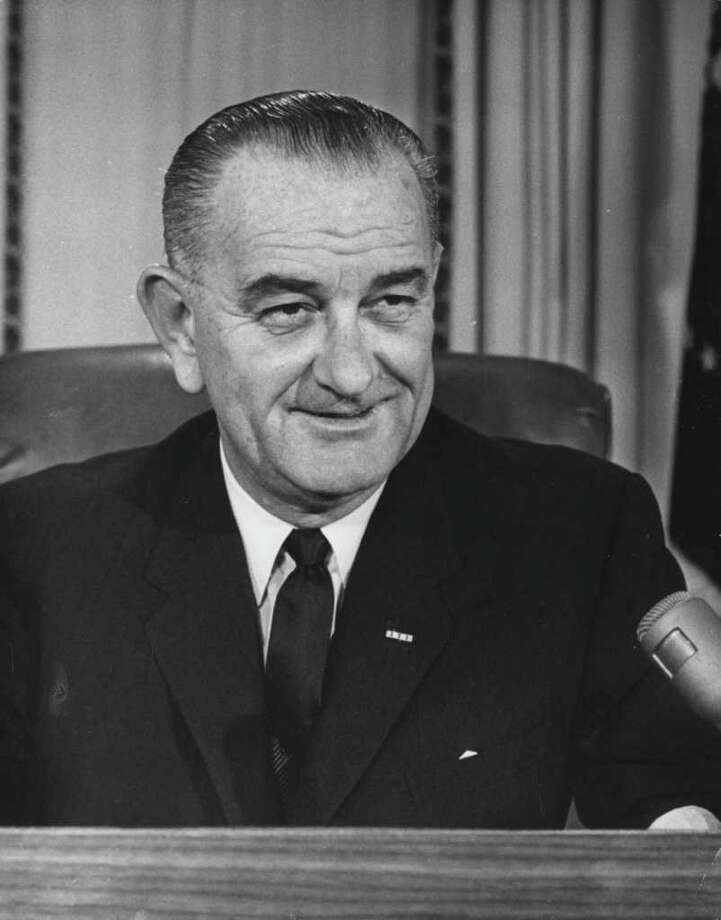 Texan Lyndon Johnson was the Express-News' choice in 1964 over Barry Goldwater. (Central Press / Getty Images) / Hulton Archive