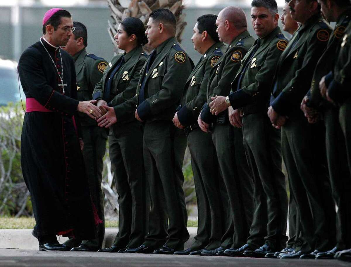 Diocese of Brownsville Bishop Daniel E. Flores arrives for the wake of Immigrations and Customs Enforcement Special Agent Jaime Zapata at the Brownsville Event Center in Brownsville on Feb. 21. Zapata was killed last week in Mexico; no arrests have been made.