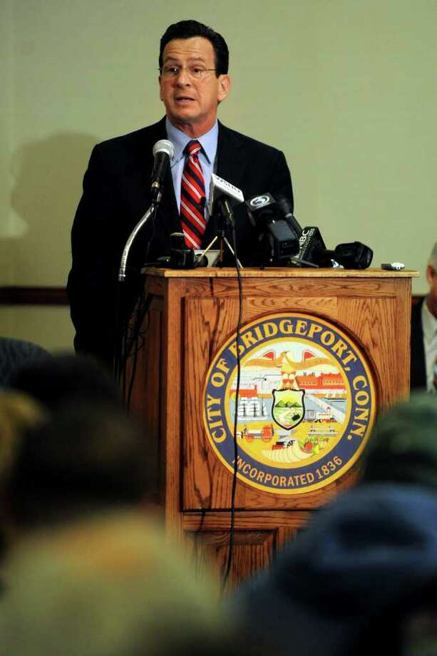 Gov. Dannel P. Malloy takes part in a town hall meeting in City Hall Annex in Bridgeport, Conn. Feb. 21st, 2011. The meeting was the first of 17 Malloy has planned around the state. Photo: Ned Gerard / Connecticut Post