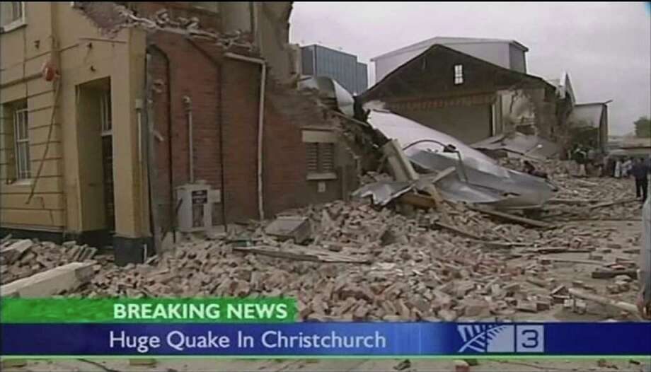 In this image made from video run by New Zealand's TV3,  damaged buildings are seen in Christchurch, New Zealand Tuesday, Feb. 22, 2011. A strong, 6.3-magnitude earthquake rocked the southern New Zealand city of Christchurch on Tuesday, seriously injuring people and damaging buildings throughout the city. (AP Photo/TV3 via Associated Press Television News)