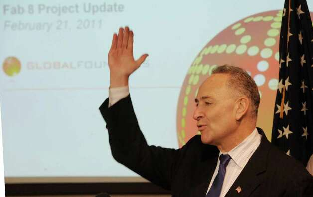 Senator Charles Schumer speaks during a press conference at Global Foundries in Malta, New York February 21, 2011about a new administration building that is slated to be constructed on at the Tech Park adjacent to the present construction of the $4.6 million Chip Fab Plant.   (Skip Dickstein / Times Union) Photo: SKIP DICKSTEIN / 00012149A