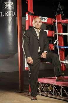 "SPORTS - ""Jesse"" James Leija poses Thursday, January 15, 2009 at his Champion Fit Gym. BAHRAM MARK SOBHANI/msobhani@express-news.net Photo: BAHRAM MARK SOBHANI, SAN ANTONIO EXPRESS NEWS / SAN ANTONIO EXPRESS NEWS"