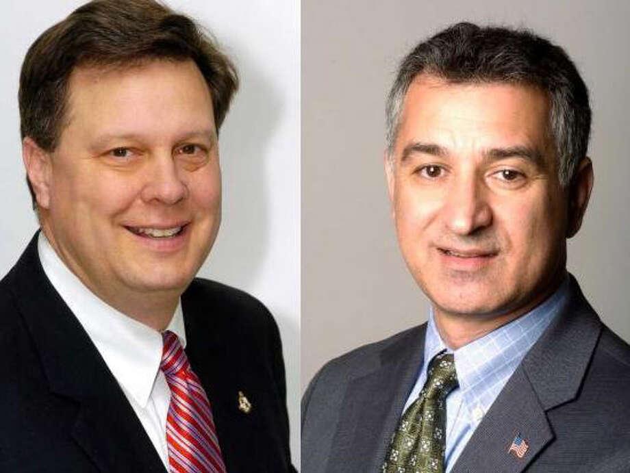Bob Kolenberg, left, and State Rep. Carlo Leone. Photo: File Photo / Darien News