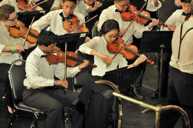 The more than 240 members of the Greater Bridgeport Youth Orchestras will perform Sunday, March 6 at the Klein Memorial Auditiorium in Bridgeport. Photo: Contributed Photo / Connecticut Post Contributed