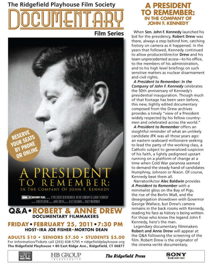 Here's a flier from the John F. Kennedy film that will be screened at the Ridgefield Playhouse. Photo: Contributed Photo / The News-Times Contributed