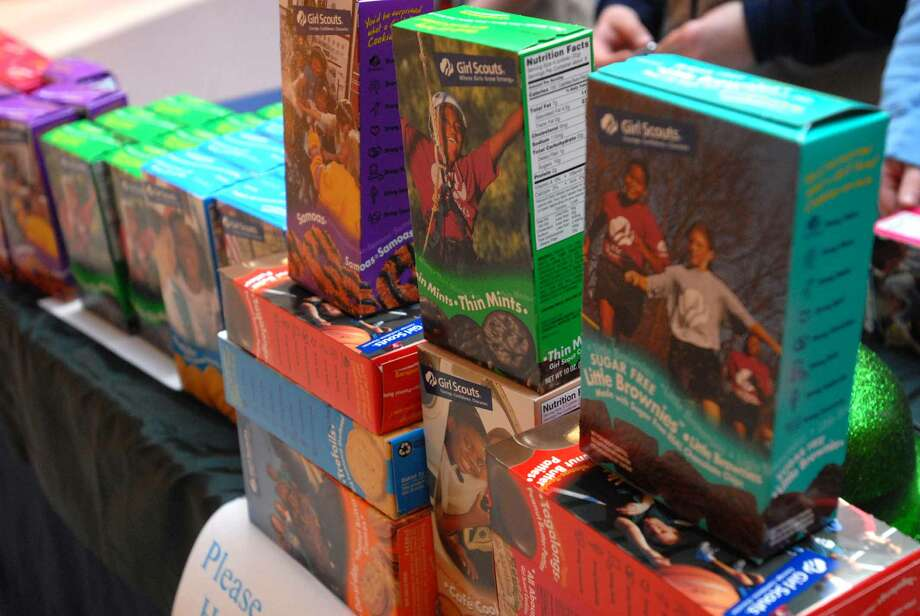 Girl Scout cookies are on sale.