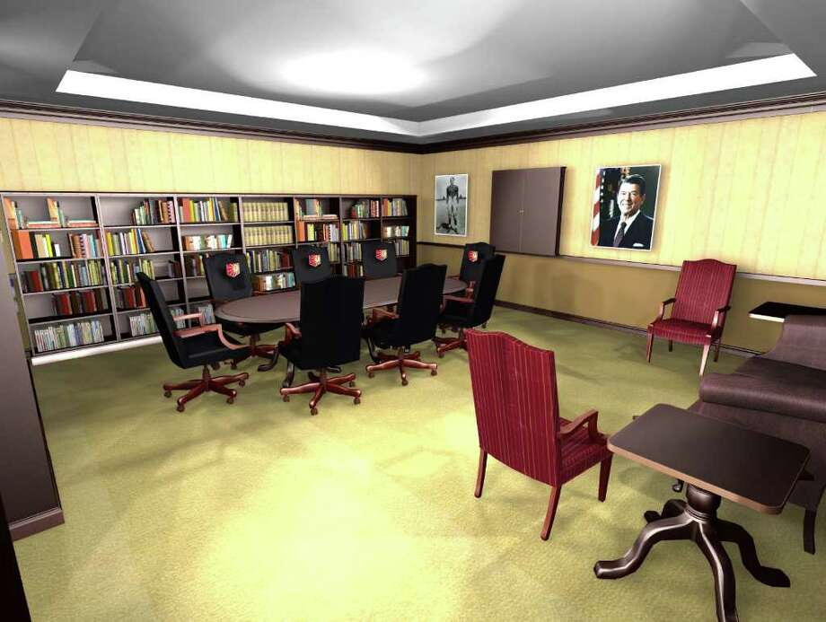 An artist's rendering of the planned Mark R. Shenkman Reagan Research Center at Eureka (Ill.) College. Shenkman, a Greenwich resident and graduate of the school, has donated an undisclosed amount of money to build the center, which will house all the books written about Reagan, who also attended Eureka, as well books about his policies while president. Photo: Contributed Photo / Greenwich Time Contributed