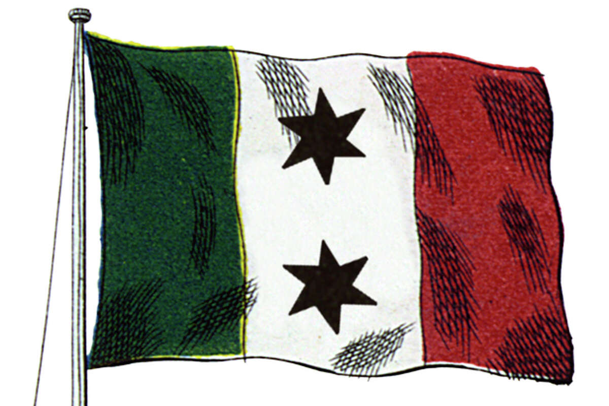 THE TWO-STAR ALAMO TRICOLOR - The tricolor with two six-pointed stars was described by a Mexican colonel who was part of Santa Anna's army as