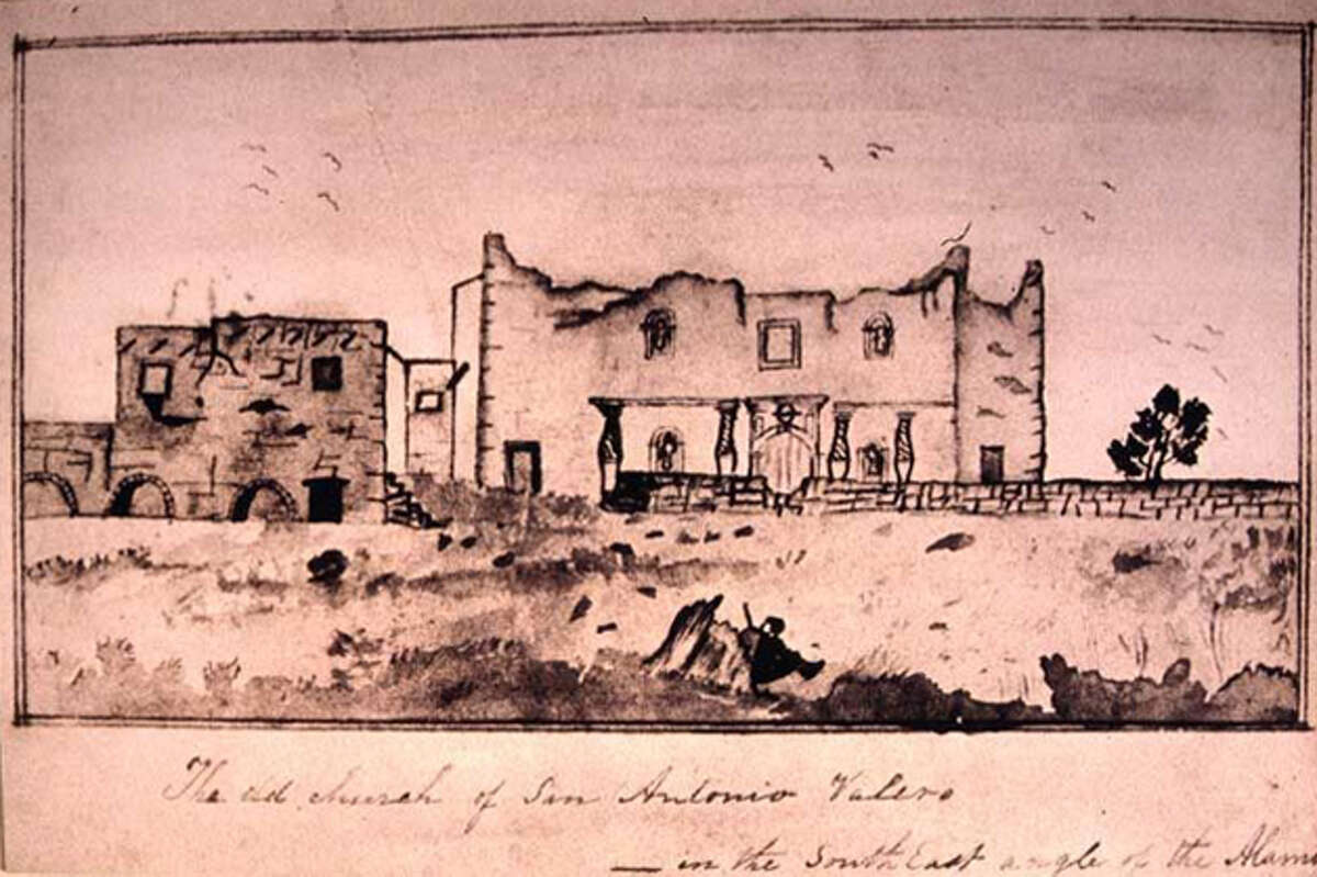 1838:  FIRST  KNOWN  IMAGE  AFTER  THE  BATTLEAccording to the memoirs of Mary Ann Adams Maverick, wife of Samuel Maverick, she visited the Alamo grounds in the autumn of 1838 and sketched this view. Courtesy of Texas A&M University