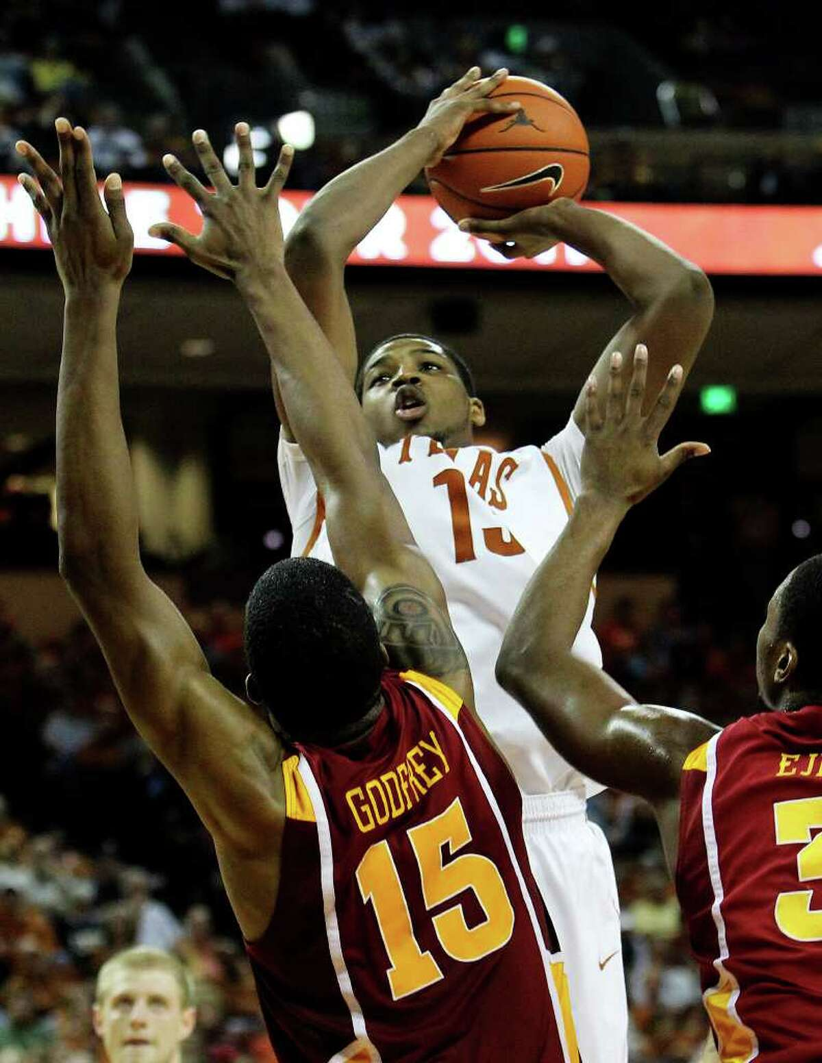 Texas Longhorns' Tristan Thompson (13) takes a shot against Iowa State's Calvin Godfrey (15) in the first half in men's basektball in Austin on Tuesday, Feb. 22, 2011. Kin Man Hui/kmhui@express-news.net