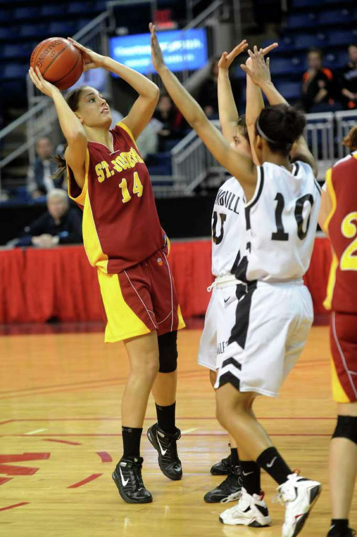 St. Joseph's Amaia Gristsko takes a shot during Tuesday's FCIAC girls basketball semifinal game at the Webster Bank Arena at Harbor Yard on Feburary 22, 2011.