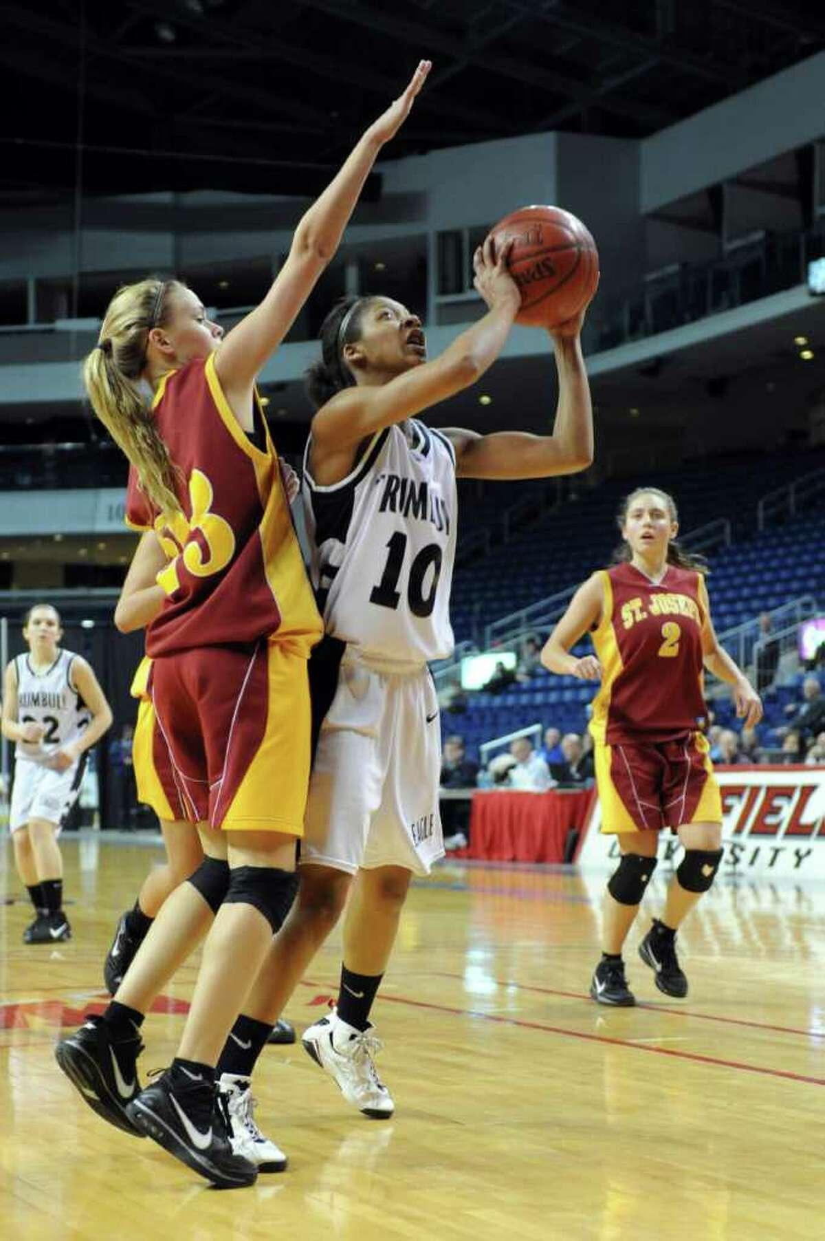 during Tuesday's FCIAC girls basketball semifinal game at the Webster Bank Arena at Harbor Yard on Feburary 22, 2011.