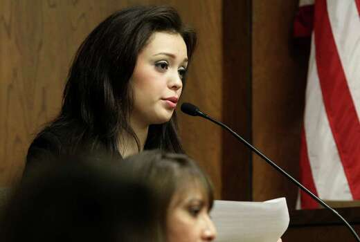 Domonique Ramirez, 17, testifies in court on Feb. 22. She is suing the Miss Bexar County Organization, Inc. for removing her title. Photo: JOHN DAVENPORT / jdavenport@express-news.net