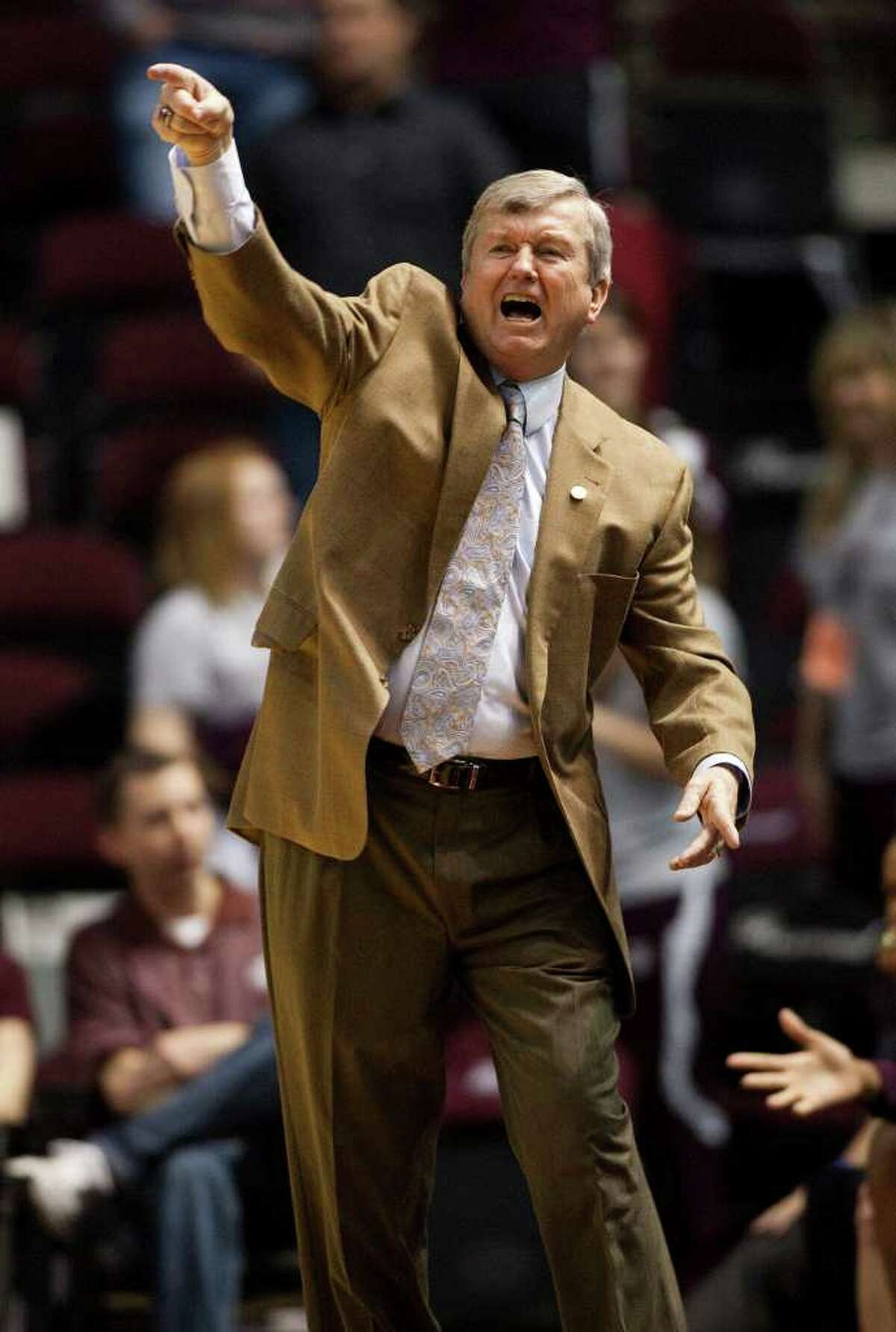 Texas A&M coach Gary Blair calls a play during the first half of an NCAA college basketball game against Texas Tech on Tuesday, Feb. 22, 2011, in College Station, Texas.