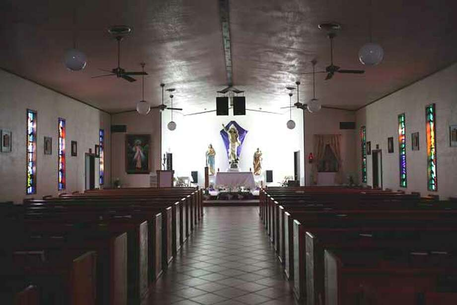 The altar of Sacred Heart Church in Rocksprings. Jerry Lara/ Express-News