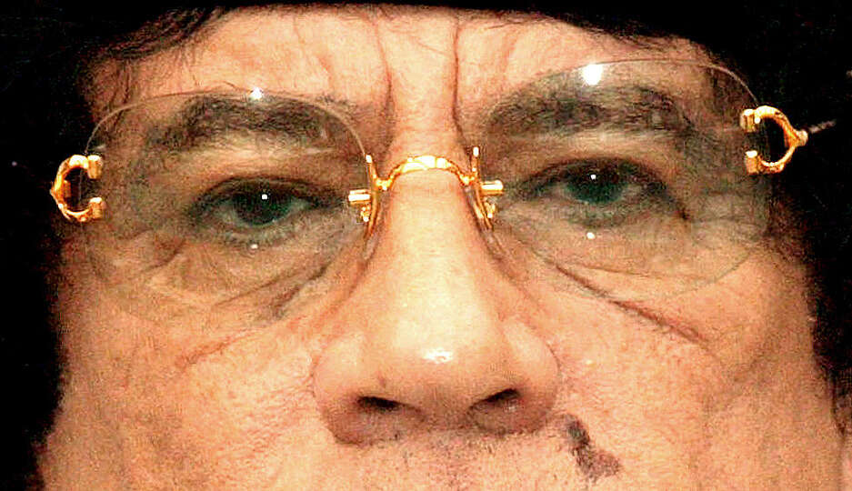 Libyan Leader Moammar Gadhafi is seen in the Belgian Chamber on April 28, 2004 in Brussels, Belgium.