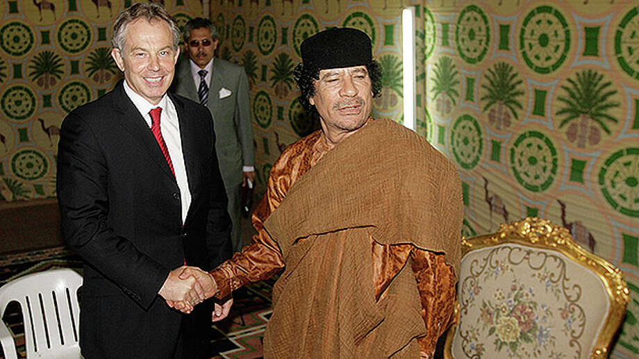 Prime Minister Tony Blair meets with ColonelMoammar Gadhafi on May 29, 2007 in Sirte, Libya. Mr Blair is on a five day visit to meet with African leaders as he prepares to stand down as Britain's Prime Minister on June 27, 2007. Photo: Peter Macdiarmid, Getty Images / Getty Images 2011