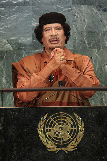 Libyan leader Col Moammar Gadhafi delivers an address to the United Nations General Assembly at U.N.