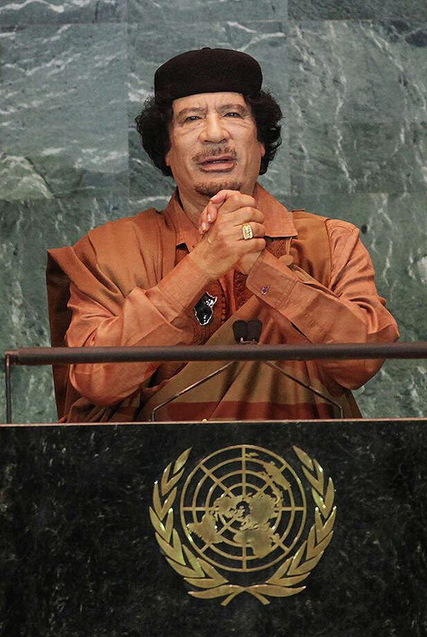 Libyan leader Col Moammar Gadhafi delivers an address to the United Nations General Assembly at U.N. headquarters September 23, 2009 in New York City. Photo: Mario Tama, Getty Images / Getty Images 2011